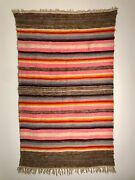 Beautiful Banded Rio Grande Blanket Handspun Wool Early 20th C Excellent-mint