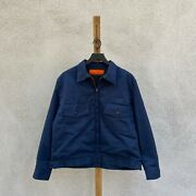 Vintage Perfect Brand Insulated Navy Blue Twill Work Jacket Menand039s Large
