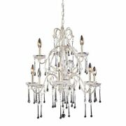 Elk 9 Light Chandelier In Antique White And Clear Crystal Finish 4003/6+3cl