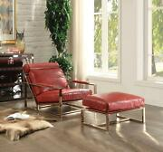 Acme Quinto Accent Chair In Antique Red And Stainless Steel Finish 96672