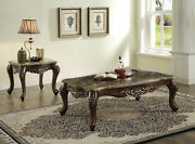 Acme Latisha Coffee Table In Marble And Antique Oak Finish 82145