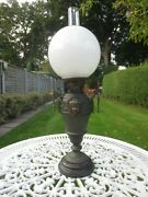 Antique Victorian Oil Lamp With Original Opal Shade And Chimney