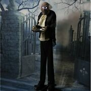 5 Ft Animated Zombie Butler Holding A Silver Tray Moaning Creepy Halloween Decor