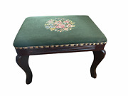 Vintage Footstool Needlepoint Finished 18x13x12 Wood Green Floral