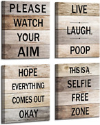Restroom Decor The Funny Bathroom Signs Rustic Wooden Background Wall Art Farmho
