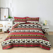 Lodge Quilt Set Twin Size Rustic Cabin Bedding Moose Bear Printed Bedspread Cove