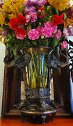 Old Antique Bronze Vase - Large African Elephant Cast - Heavy. Good Condition.
