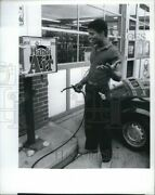 1985 Photo Coin Operated Air Pump At Gas Station 8x10