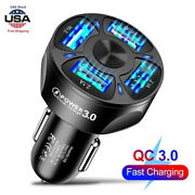 Smart Car Charger Adapter 4 Usb Ports Led Light Fast Charging For Iphone Samsung
