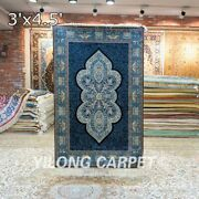 Collection Of 3x4.5ft Hand Knotted Area Rug Floral Handmade Silk Carpet Strip
