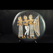 Egyptian Revival Solid Hammered Copper Plaque Sculpture Early 20th Century