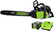 Greenworks Pro 80v 18-inch Brushless Cordless Chainsaw, 2.0ah Battery And Rapid