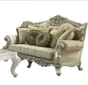 Acme Bently Loveseat With 5 Pillows In Fabric And Champagne Finish 50661