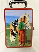 2001 Accoutrements Western Cowgirl Pinup Horse Collectible Tin Lunch Box Storage