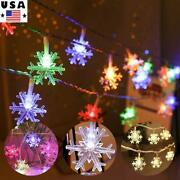 Snowflake Led String Fairy Lights Battery Operated Christmas Warm/cool White Us