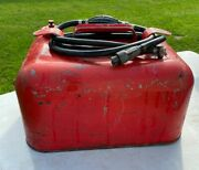 Vintage Metal Approx. 4 Gallon Marine Outboard Boat Motor Gas Can With Hose