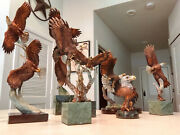 Legends Mixed Media Kitty Cantrell Bronze Eagle Sculptures Lot Of 7