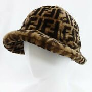 Fendi Hat 19aw Ff Sheep Shearling Brown Size 58 Nearly Unused 4206me