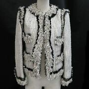 No Color Poodle Tweed Jacket Women And039s Fringe Spangle Race Coco No.5061