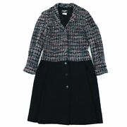Vintage 98a Wool Switching Tweed Long Coat Women And039s Multi Black No.5158
