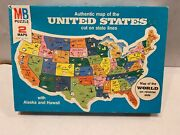 Vintage Milton Bradley Mb Puzzle Authentic Map United States And The World 1975
