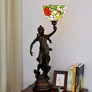 Style Table Lamp Stained Glass Red Rose Antique Desk Lamps