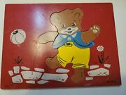 Vintage Sifo Playful Teddy Bear Wooden Puzzle 1960s Preschoolers Age 3+