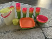 Neon Tupperware, Plates, Cups, Bell Tumblers, Sippy Seals, Bowls And Pitcher
