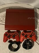 Sony Playstation 3 Super Slim Console Red Cech-4001c 2 Controllers And Cords Used