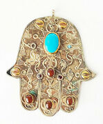 Vintage Palm Shaped Amulet Hamsa Decorated With Several Gemstones Judaica Gif