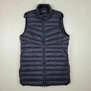 Landand039s End Xl Black 800 Fill Down And Feather Tunic Length Zippered Vest High Neck