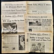1968 Vintage Lot Of 4 Robert F Kennedy Newspapers Plus 1963 Jfk Assination Paper
