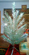 Vintage Ussr Artificial Christmas Tree Green And Aluminum Color 47in Box