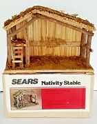 Vintage Nativity Creche Stable Wood Wooden Manger Sears Taiwan 14 X10