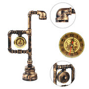 Industrial Water Pipe Table Light Vintage Wrought Iron Metal Desk Lamps W/ Clock