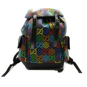 Colorful Gg Icon Rucksack Backpack Bag Canvas Leather Multi-color Used