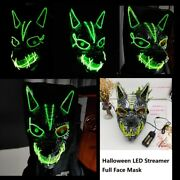 Halloween Led Streamer Full Face Mask Wolf Head Ghostface Clown Glow Party Mask