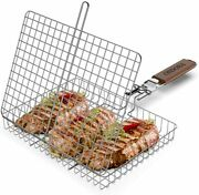 Portable Fish Grill Basket Bbq Grilling Basket For Outdoor Grill Rustproof 304