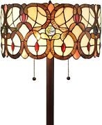 Style Floor Lamp 63 Tall Stained Glass Brown Red Traditional Light