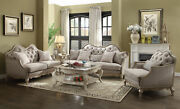 Acme Chelmsford Sofa With 5 Pillows In Beige Fabric And Antique Taupe 56050