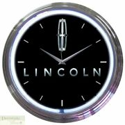 Lincoln Car Emblem Ford 15 Neon Wall Clock Glass Face Chrome Plate Warranty New