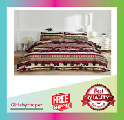 Country Bear Moose Bedding Rustic Striped Bedspreads Full Queen Size Lightweight