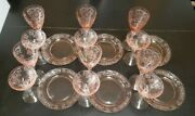 Vintage Fostoria Versailles Glassware1928-40 Wine Champagne And Plate -set Of 6