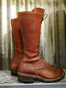 Wesco Highliner Logger Work Boots Vintage Motocross 9 1/2 D Brown Without Box