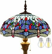 Style Floor Lamp Stained Glass Blue Dragonfly Shade Antique Light 64