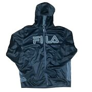 Fila Hoodie Mens Size X Large Zip Up Black Embroidered X Large Spell Out