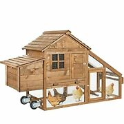 Portable Chicken Coop For 2-4 Chickens Tractor With Wheels Movable Hen House