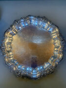 F B Rogers Silver On Copper Footed Tray