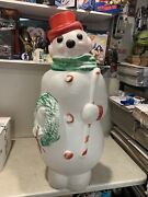 """Vintage Empire Lighted Christmas Snowman Wreath/candy Cane Blow Mold 46"""" Used"""