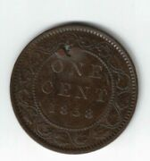Canada 1858 Broken Stem Large Cent One Cent Queen Victoria Canadian Coin